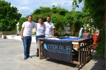 the core staff of Inter Alia. From left, Nikos, Boyka and Nikos.